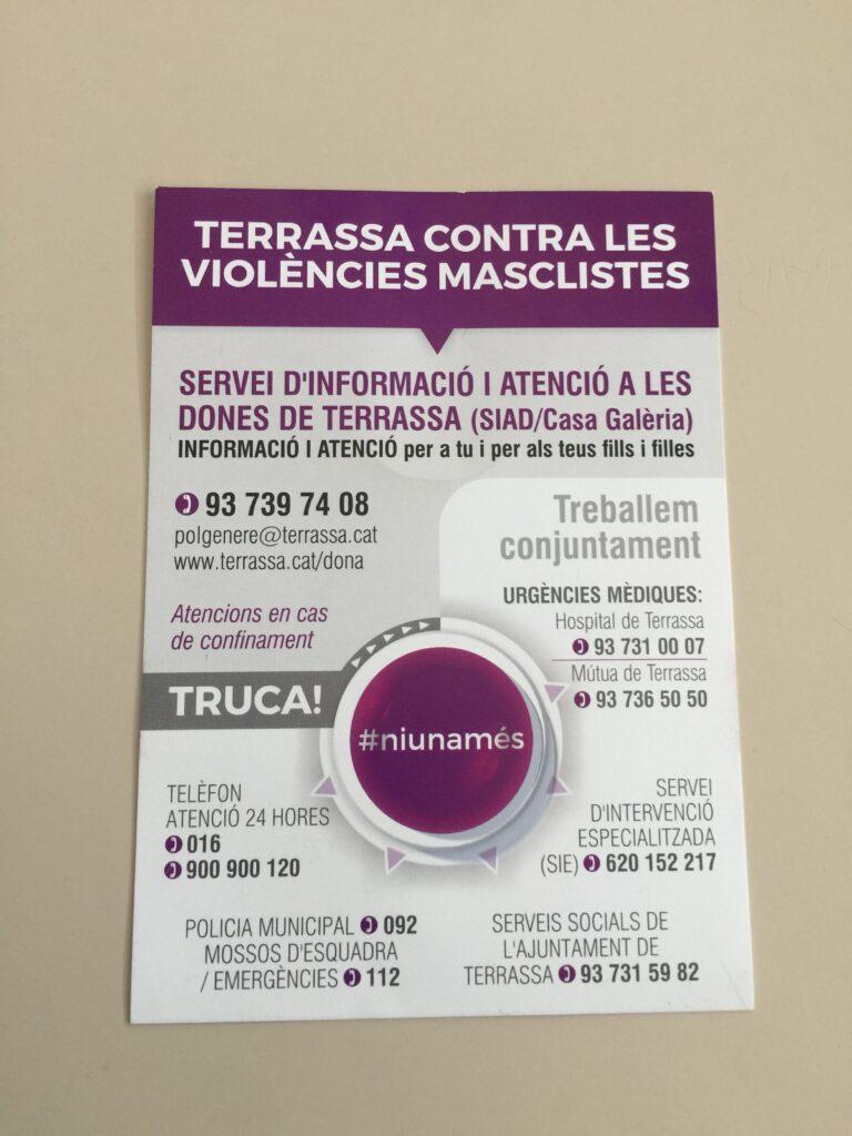 TERRASSA CONTRA LES VIOLÈNCIES MASCLISTES: NOMÉS A LES NOIES?